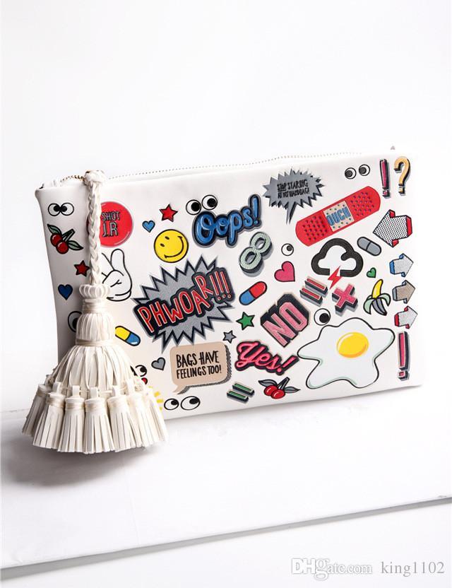 2017 frauen Handtaschen Kunstleder Graffiti Cartoon Prägung Messenger Bags Umschlag Kupplung Umhängetasche Schulranzen Kupplungen