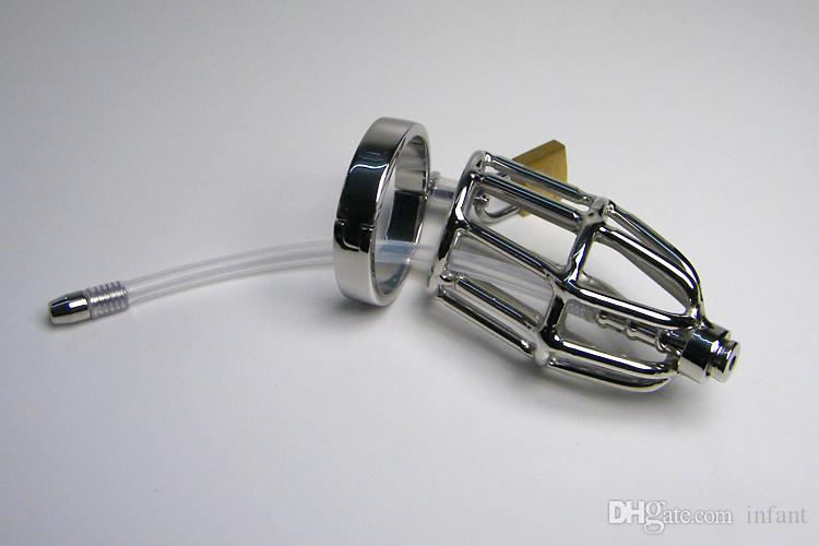 Sex toys,930 Male stainless steel chastity, metal chastity device with silicone catheter, New male chastity devices ,2017 adult toys