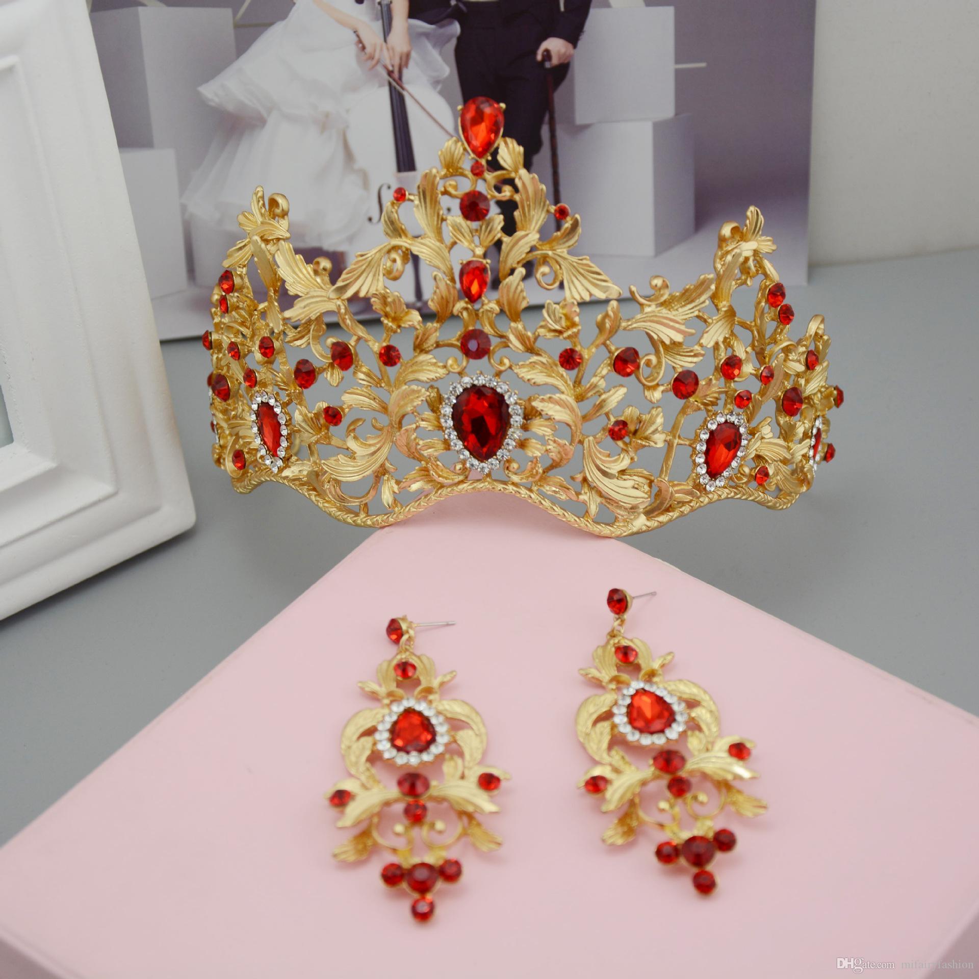 빈티지 바로크 신부 왕관은 웨딩 왕관과 크라운 15 * 10 H18을 설정 화이트 다이아몬드 기절 골드 레드 크리스탈 공주 모자를 설정합니다