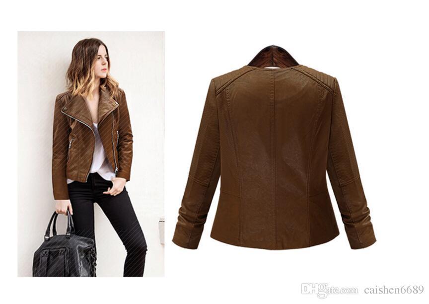 2018 chaqueta de cuero de alta calidad mujeres primavera nueva más tamaño 5XL abrigo de moda chaqueta casual mujeres motocicleta cuero ropa de abrigo corto Grea