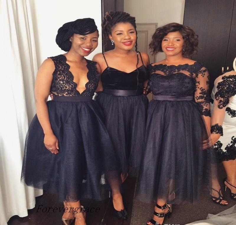 2017 Chic Summer Beach New Navy Blue Bridesmaid Dress A Line Tea