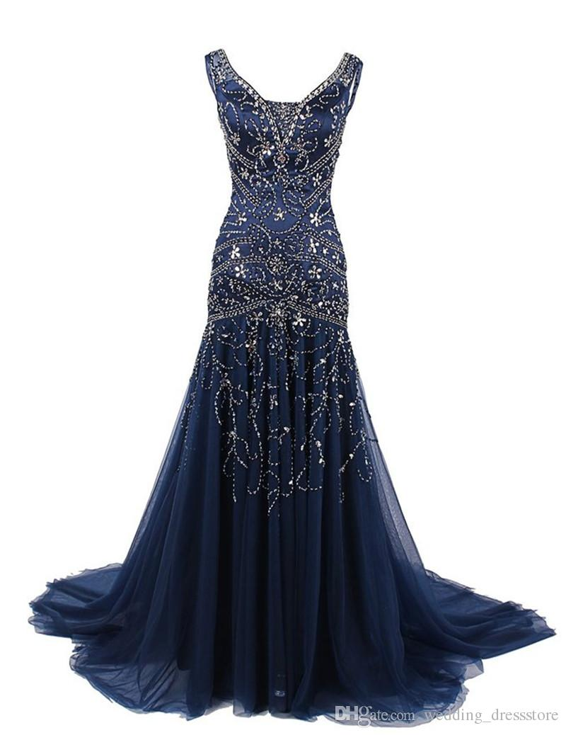 Sparkly Long Evening Dresses 2017 vestidos de noiva with Beaded formal prom gowns Tulle Sleeveless