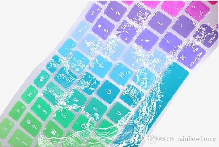Soft Silicone Rainbow keyboard Case Protector Cover Skin For MacBook Pro Air Retina 11 13 15 17 Waterproof Dustproof US Ver OEM