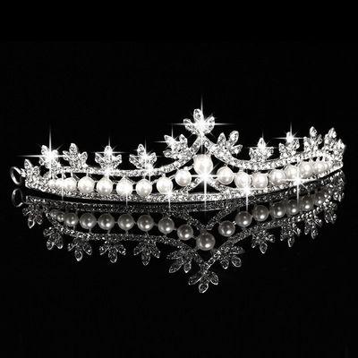 Novia Corona Pelo Joyería Perla Cisne Corona Boda Nupcial Rhinestone Corona Chica Tiara Accesorios Plata barato