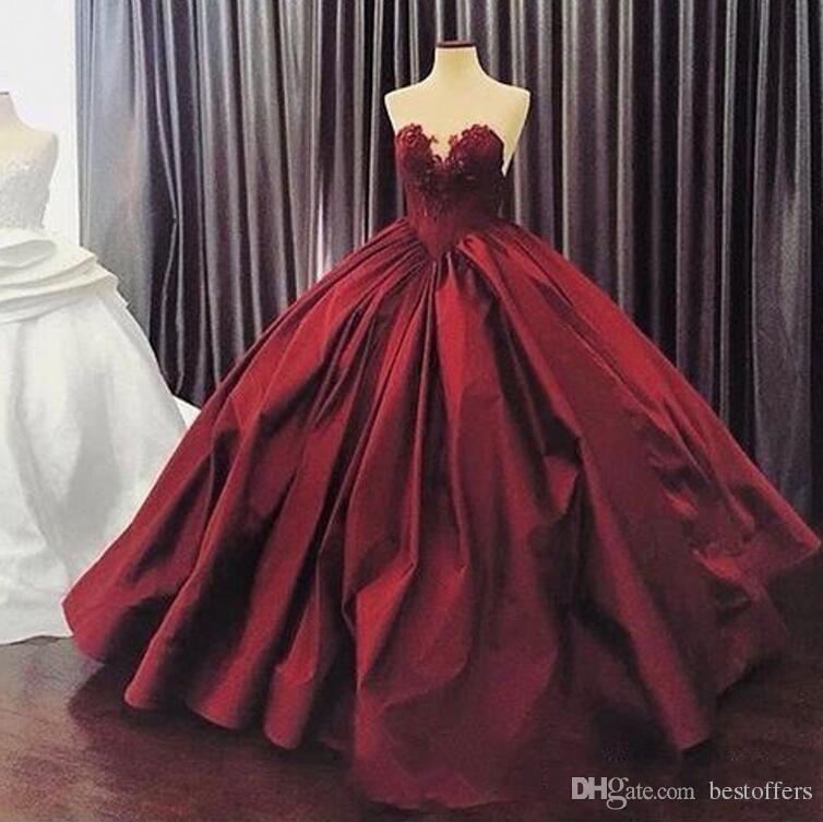 2017 Burgundy Prom Dresses Appliques Ball Gown Elegant Sweetheart ...