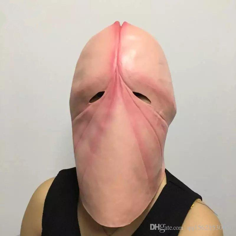 Funny Head Mask,Penis Dick Head Latex Mask Prank Party Costume Hen Stag Halloween For Joke Gift (Fits most adult heads, Pink)