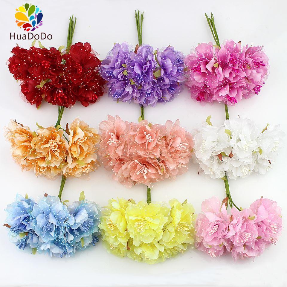 Online Cheap 4cm Silk Carnations With Gauze Stamen Artificial Flower