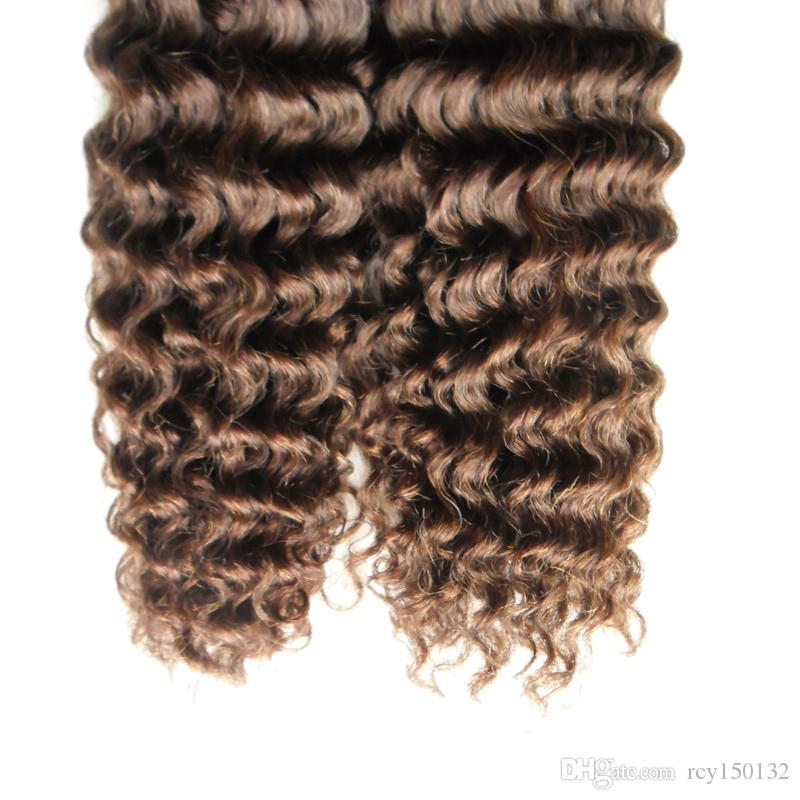 Brazilian Kinky curly Human Hair I Tip Hair Extensions 100g 100s #6 Medium Brown Stick Tip Keratin 100% Remy Human Hair Extensions