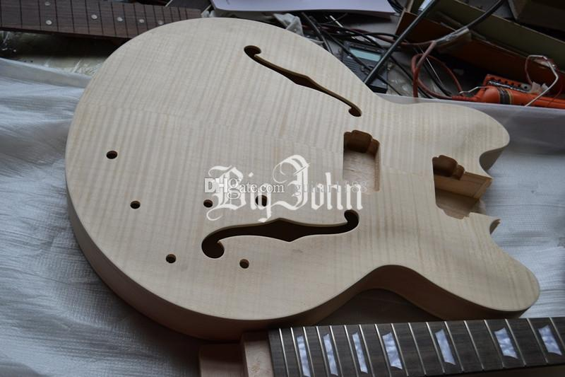 new Big John unfinished hollow electric guitar including neck and body diy your guitar F-1942