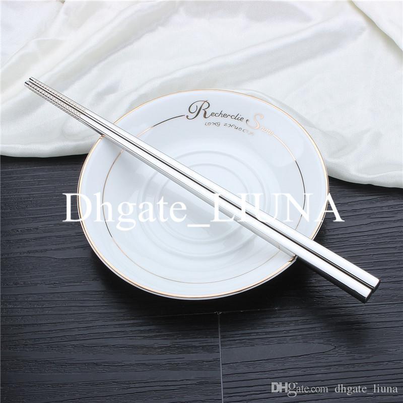 5 пара/упак. корейский бытовой металл площади палочки для еды пищевой топ 304 из нержавеющей стали палочки для еды набор посуды Рождественский подарок