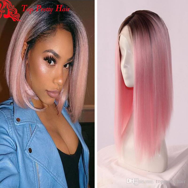 Short Cut Front Lace Ombre Pink Bob Wig Gluelss Virgin