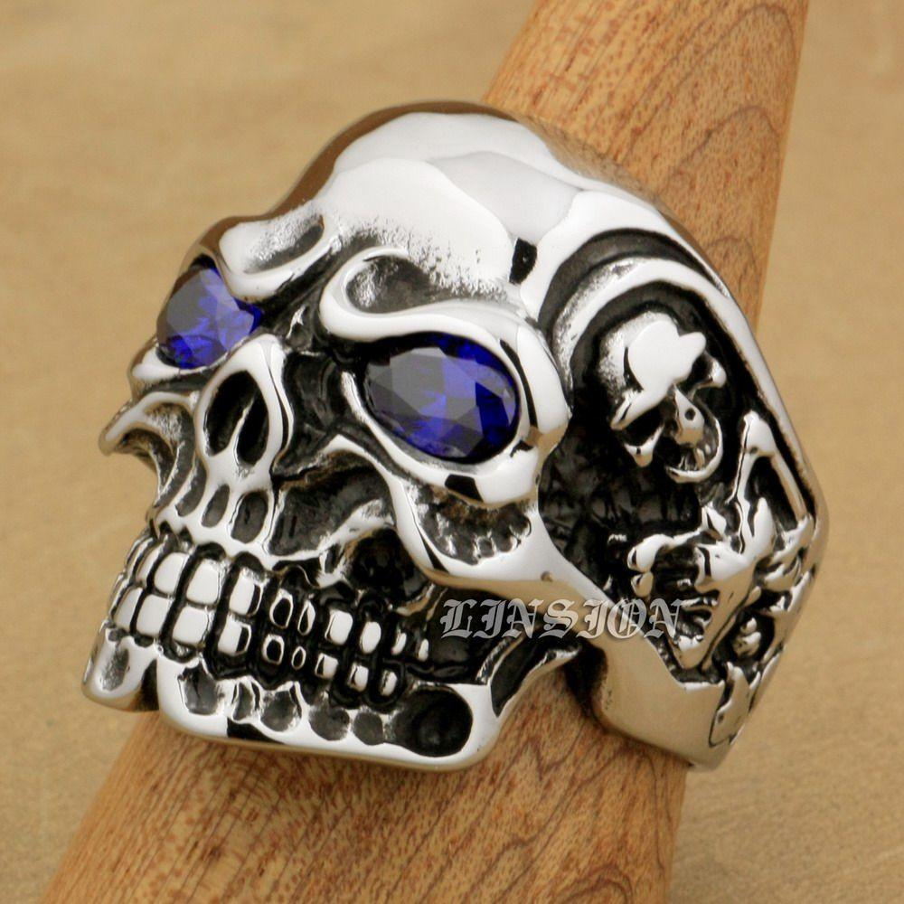 LINSION Huge Heavy 316L Stainless Steel Purple CZ Eyes Titan Skull Mens Boys Biker Rock Punk Ring 3A401