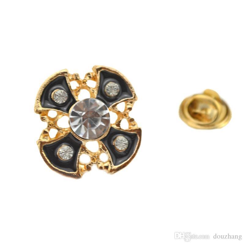 Unisex Emaille Kristall Kreuz Kragen Pins für Männer Hemd Kreuze Brosche für Männer Modeschmuck 12 Stücke