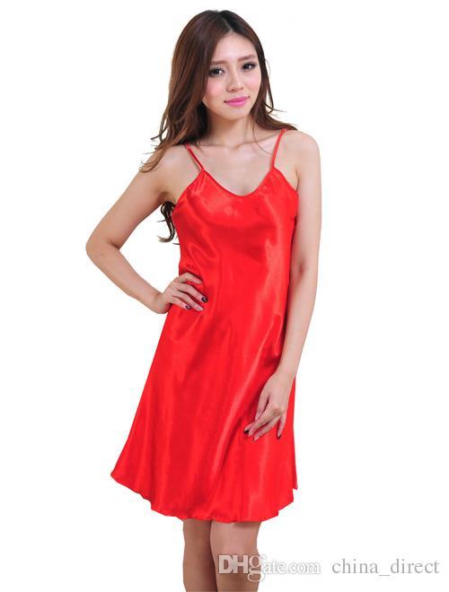 2017 dames vêtements de nuit robe singulet chemises de nuit robes PJS Short Sexy Luxury Solide Bride / # 4031
