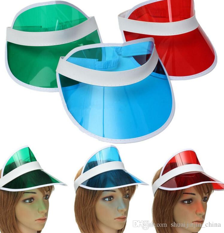 a7f7dd4b60391f 2019 Sun Visor Sunvisor Party Hat Clear Plastic Cap Transparent Pvc Sun Hats  Sunscreen Hat Tennis Beach Elastic Hats KKA1346 From Shuaijinjin_china, ...
