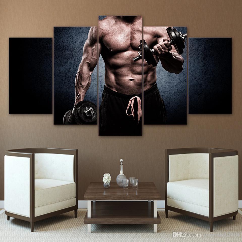 5 Peças Ginásio Homem Muscular Barbell Wall Art Poster Canvas Fotos Para Sala de estar Decoração Impresso Emoldurado Pintura A Óleo Da Lona