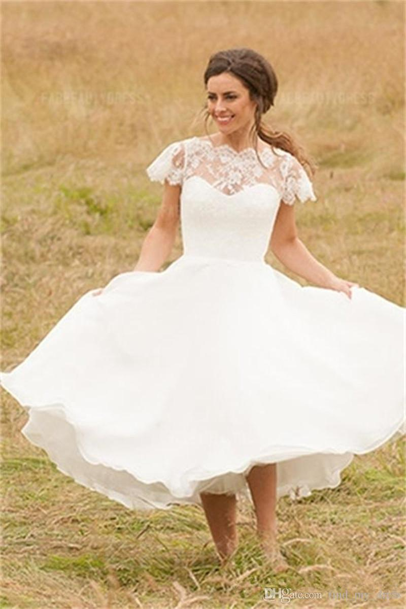 Discount New Garden Modern Style Short Wedding Dresses Cap Sleeve ...