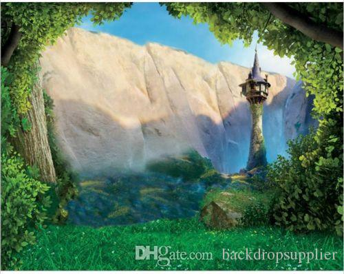 7x5ft Tangled Rapunzel Princess Rocks Forest Grass Custom