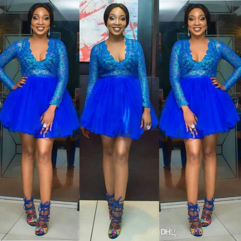 Стильные синие кружевные короткие платья выпускного вечера Глубокий V-образным вырезом Вечерние платья с длинными рукавами из тюля и блестками Homecoming Платье