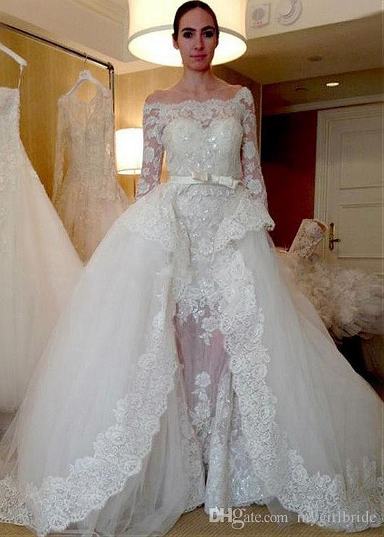 compre vestido de novia de manga larga con hombros descubiertos y
