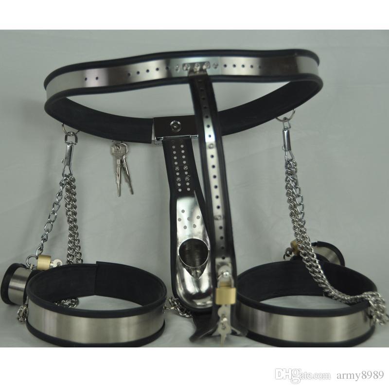 3 unids / set, sexo bdsm bondage masculino conjunto, esposas + cinturón de castidad + Leggings, dispositivo de castidad de arco de cintura para hombres, juguetes eróticos jaula de gallos