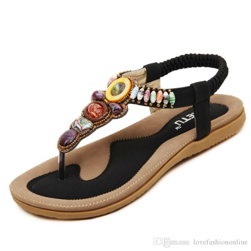 fa188bb8a37964 2017 New National Style Women Sandals Bohemia Flats Beaded Size ...