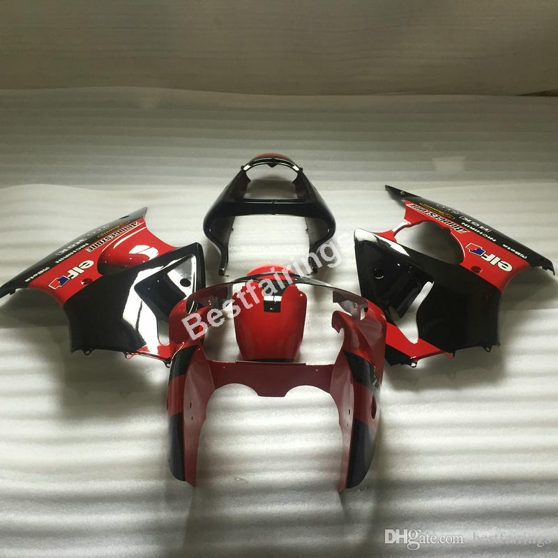 Kit de carenado personalizado gratuito para Kawasaki Ninja ZX6R 00 01 02 carenados de motocicleta negro rojo ZX6R 2000 2001 2002 TY05
