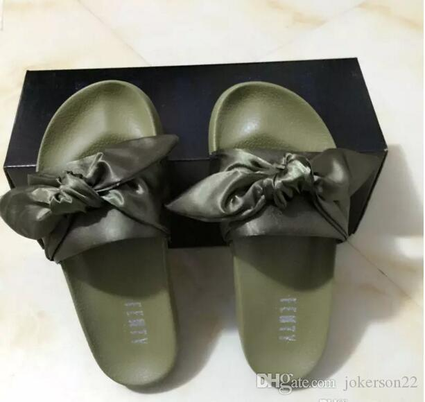 new styles a6732 b36cb Leadcat Fenty Rihanna Shoes Women Slippers Indoor Sandals Girls Fashion  Scuffs Black Olive green Fur Slides Without Box High Quality