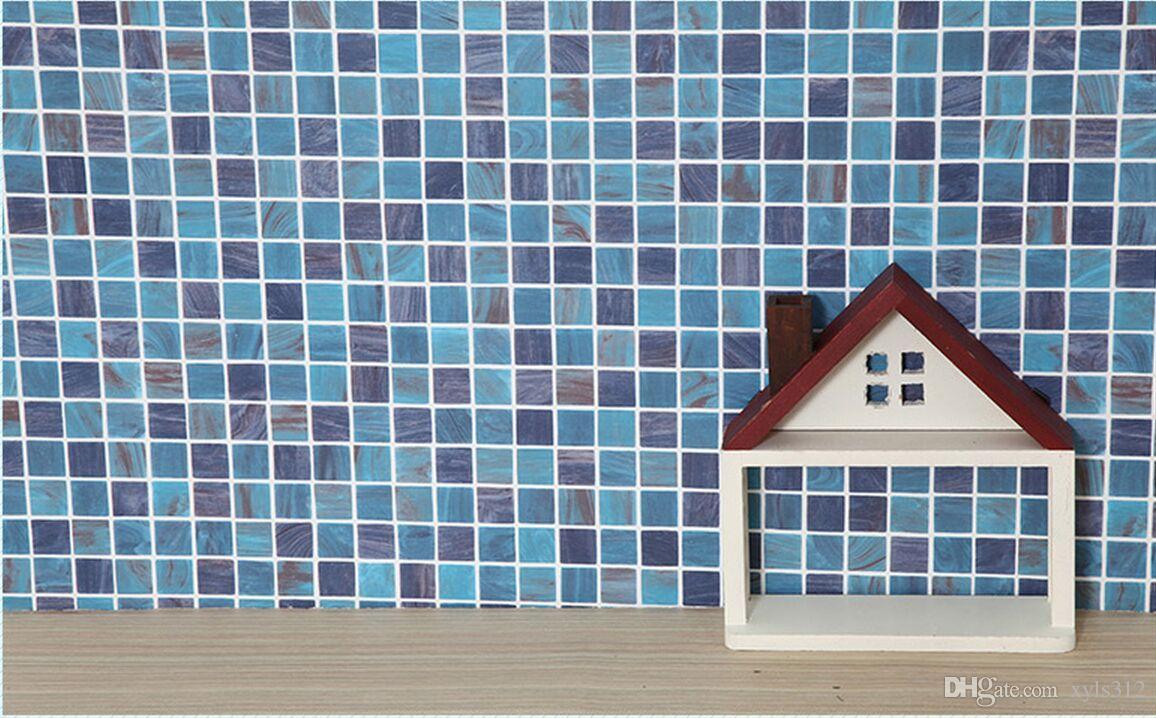 Blue W45cm Self Adhesive Mosaic Wallpaper Anti Oil Paste Kitchen ...