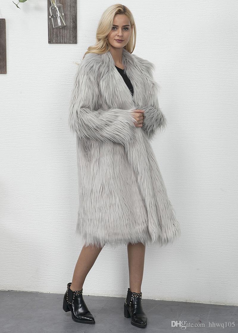 Winter-Faux-Pelz-langer Mantel-Frauen-Revers-Hals-lange Hülsen-beiläufiger Trenchcoat-neue Streetwear-Damen-Partei Outwear rosa grünes Grau CJG1009