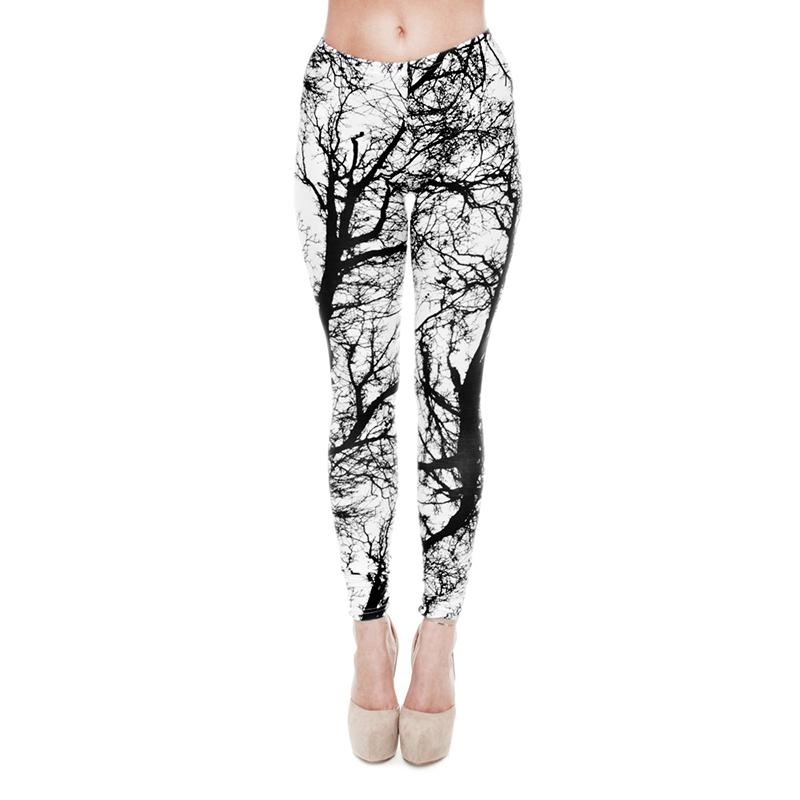 78118b0ee1d283 2019 Women Leggings Black White Tree 3D Graphic Print Girl Skinny Stretchy  Yoga Wear Pants Lady Gym Fitness Pencil Fit Soft Trousers New J20768 From  ...