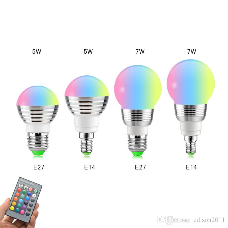 Edison2011 E14 E27 3W 5W 7W RGB LED Blub Changing LED Lamp + IR Remote Control Free Ship