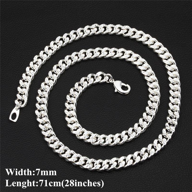 "Fashion Men Hip Hop Chain Jewelry 925 Silver Plated 7mm 71cm 28"" Chains Necklace for Men Wholesale JNLJ1003"