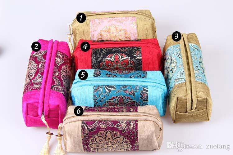 タッセルパッチワークジッパー旅行ジュエリー化粧品袋布クラフトギフト包装ビーズネックレスバングルブレスレットメーキャップ収納ポーチ/ロット