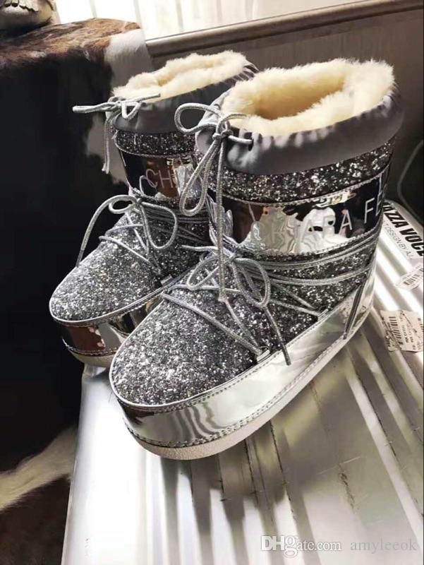 b51611265e3b Bling Bling Fashion Chiara Ferragni Flirting Snow Boots Glitter Lace Up Fur  Shoes Chukka Boots Men Slipper Boots From Amyleeok, $109.55| DHgate.Com