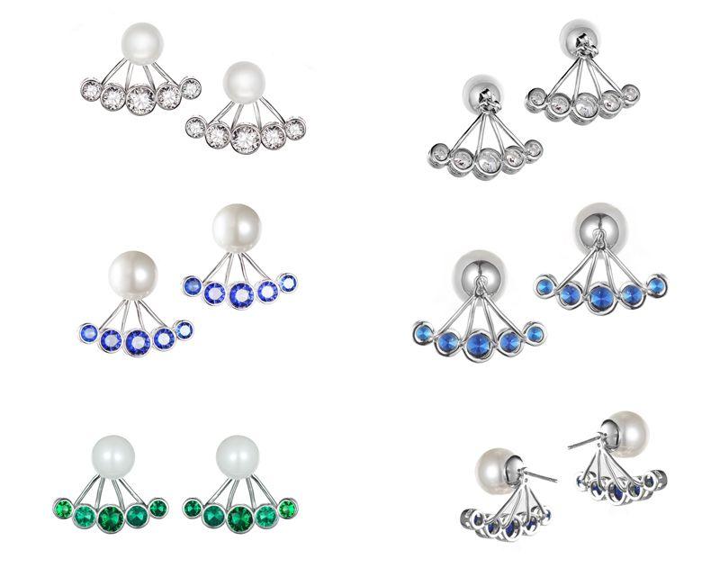 KIVN Fashion Jewelry Stunning CZ Cubic Zirconia Simulated Pearl Bridal Wedding Earring Ear Jackets for women's pearl wedding earrings