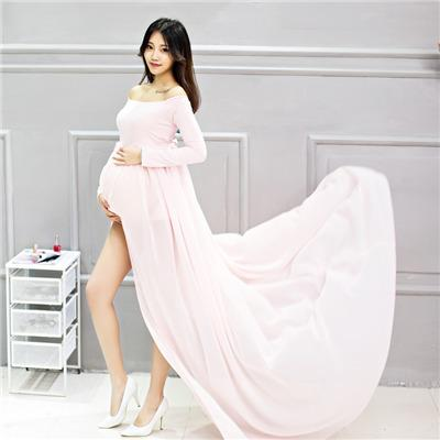 bf9c2178322da 2019 EClouds 170cm Maxi Chiffon Maternity Dress For Photography Open Split  Front Pregnancy Gown For Photoshoot From Kidplayground, $24.91 | DHgate.Com