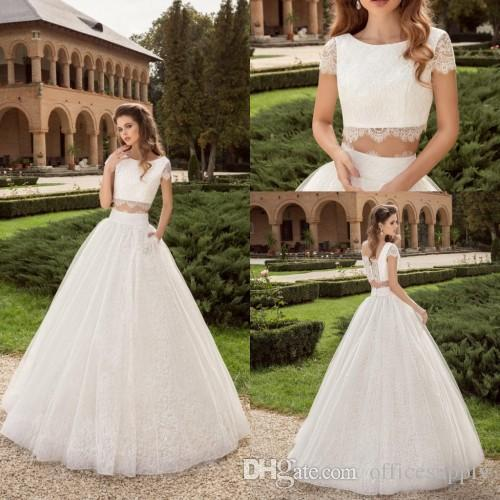 Discount 2017 Two Pieces Ball Gown Wedding Dresses Lace Top ...