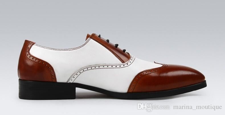 2017 Mens Handmade Black White Business Dress Shoes Genuine Leather Casual Britishi Vintage Men's Oxfords Shoes High Quality