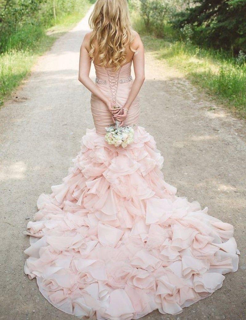 Pink Organza Ruffle Court Train Wedding Dress 2017 Sweetheart Lace-up Mermaid Crystal Belt Bridal Dress Gowns Vestidos De Noiva