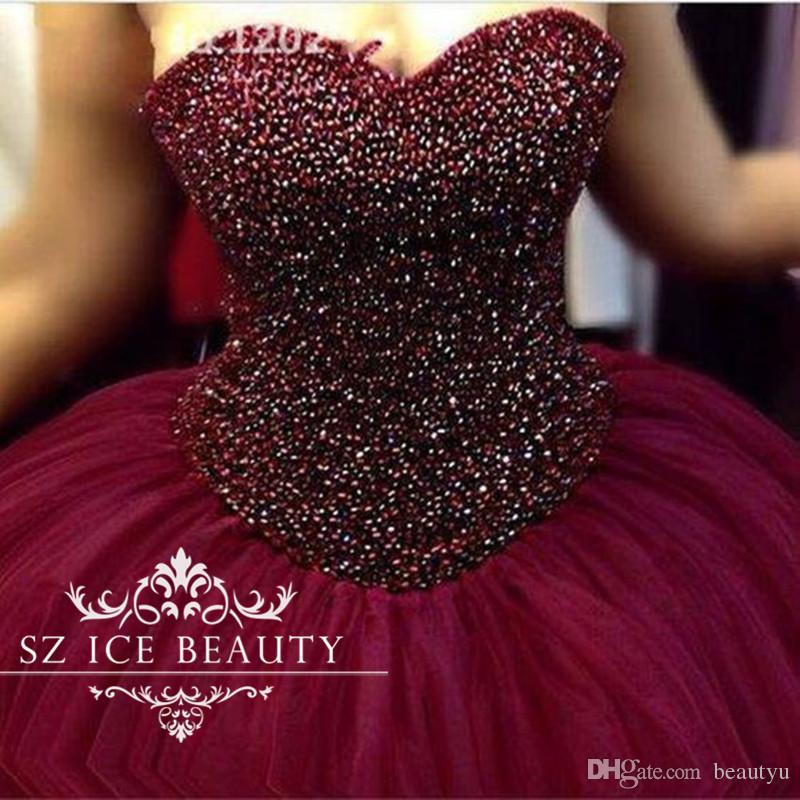 620ee4134b4 Luxury Heavy Beading Burgundy Quinceanera Dresses Puffy Ball Gown Long  Tulle Sweetheart Crystal Girls Sweet 16 Birthday Prom 2017 White  Quinceanera Dress ...