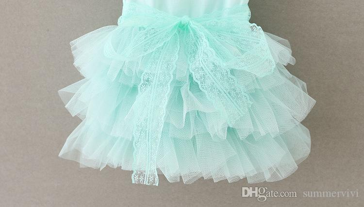 Girls dresses 2017 new children beaded lace fly sleeve tulle tutu dress kids lace Rhinestone belt princess dress girls party dress A0519