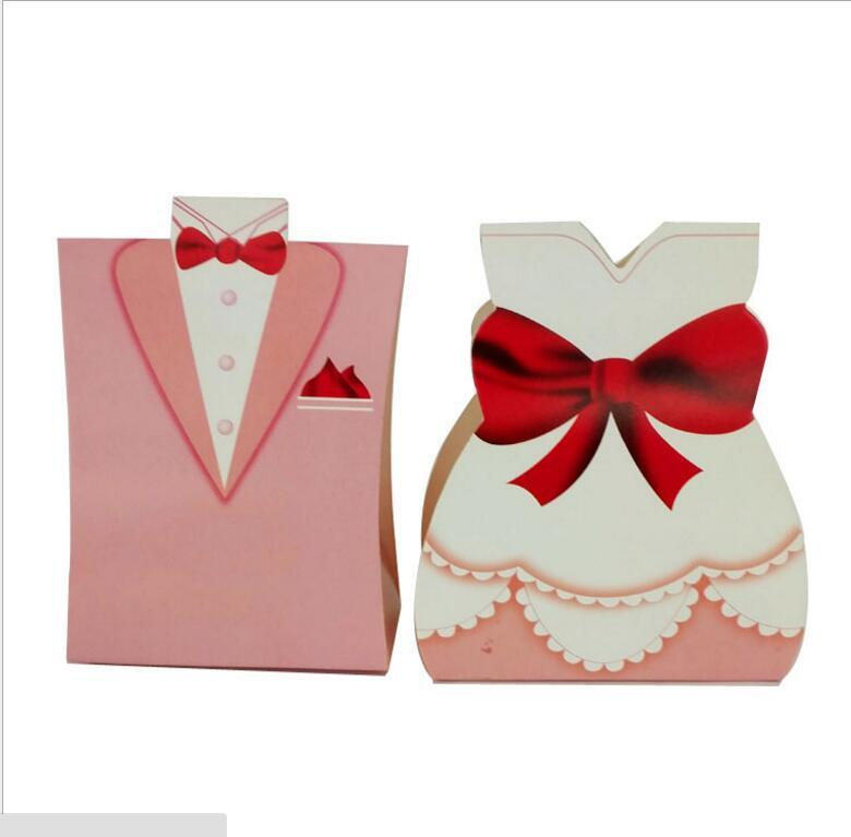 Small Gift Bags Paper White Black Bride Groom Dress Wedding Favours Free Shiping Candy Holder Boxes