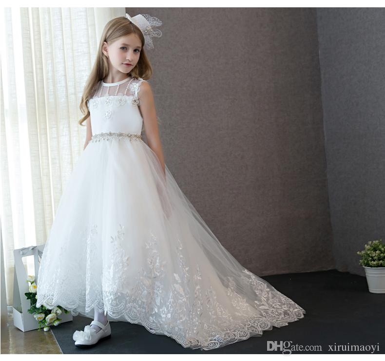 5f5277aef0e 2017 Princess White Lace Flower Girl Dress Vestidos Long Trailing Kids  Evening Ball Gown Party Pageant Dresses First Communion Butterfly Flower  Girl Dress ...