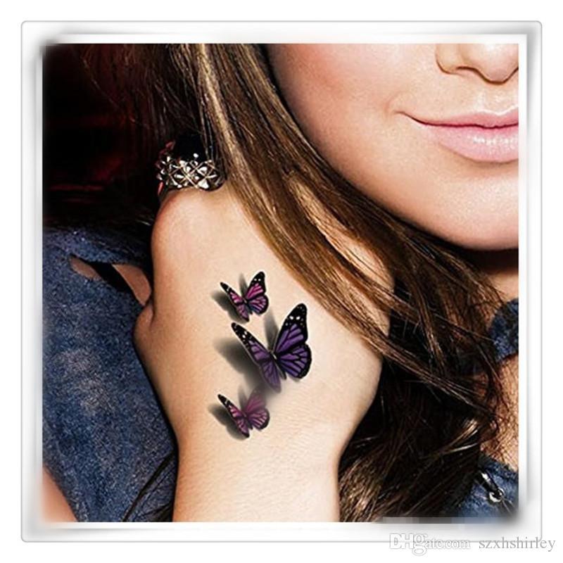 Nueva Etiqueta Engomada Sexy Tatuaje Del Cuerpo 3d Mariposa