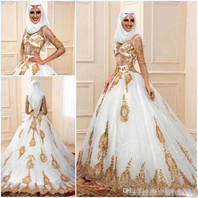 Discount Muslim Wedding Dresses 2017 With Gold Applique And 3 7 Sleeves  Sexy Sheer Indian Styles Arabic A Line Bridal Gowns Robe De Mariage Bridal  Gown ... 15b5c6b29089