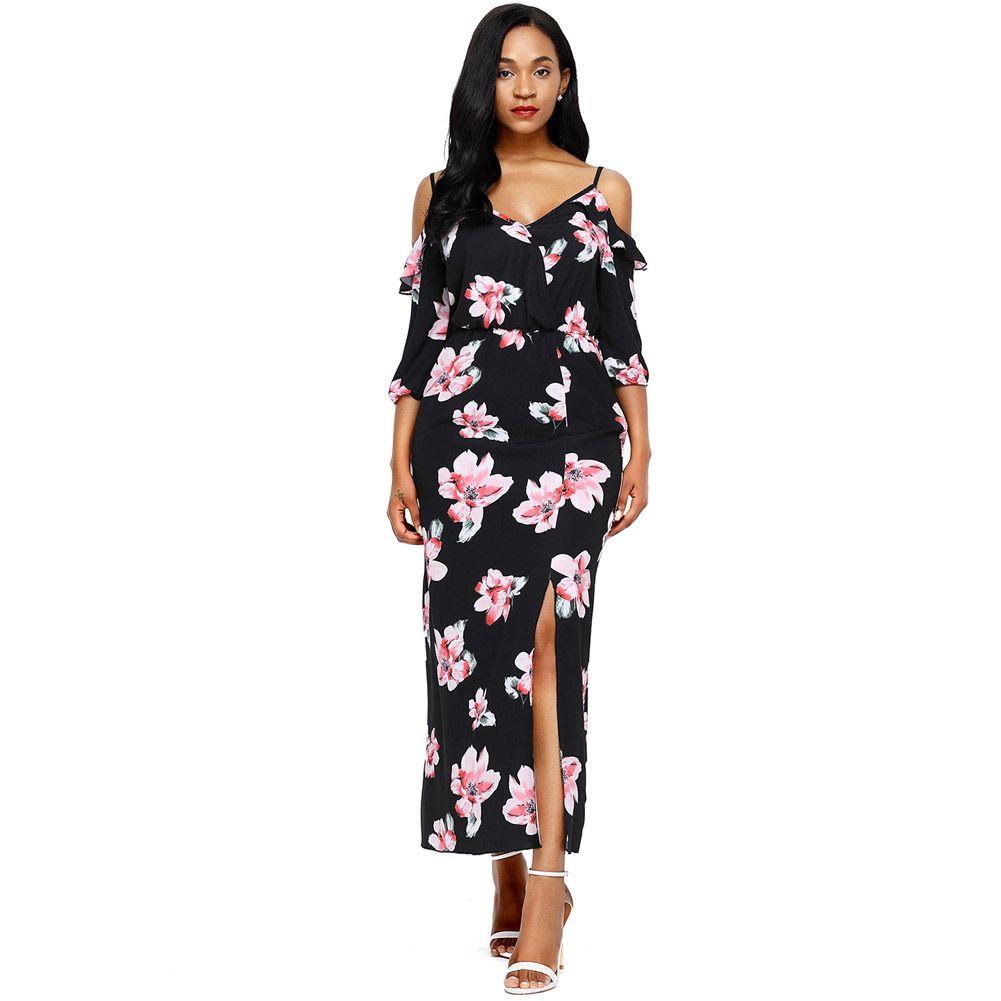Discount Cold Shoulder Floral Print Maxi Plus Size Autumn Sexy