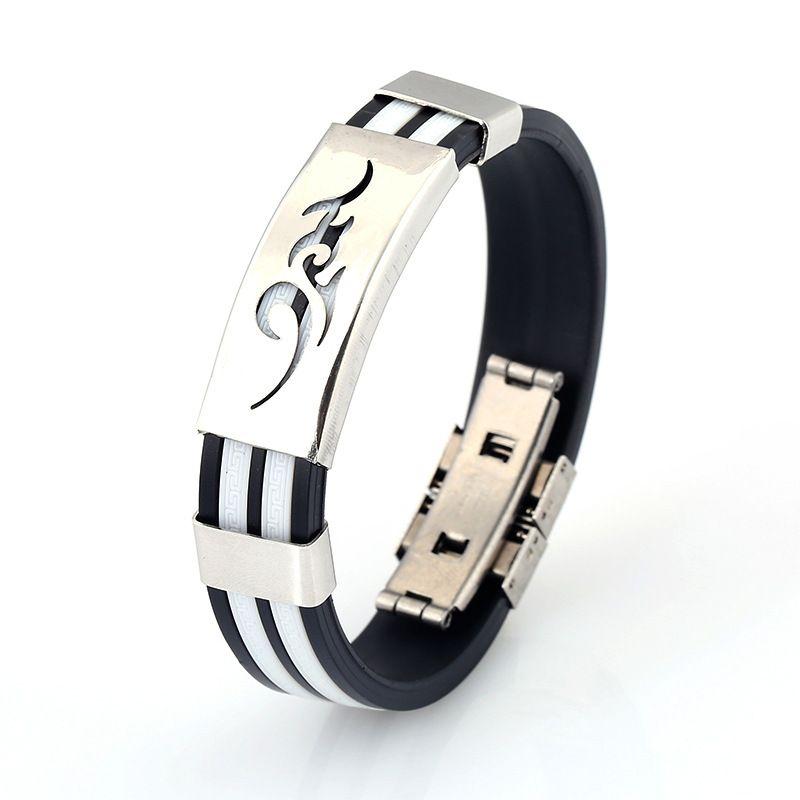 Titanium steel personalized silicone bracelet tide men fashion stainless steel FB382 a Slap & Snap Bracelets