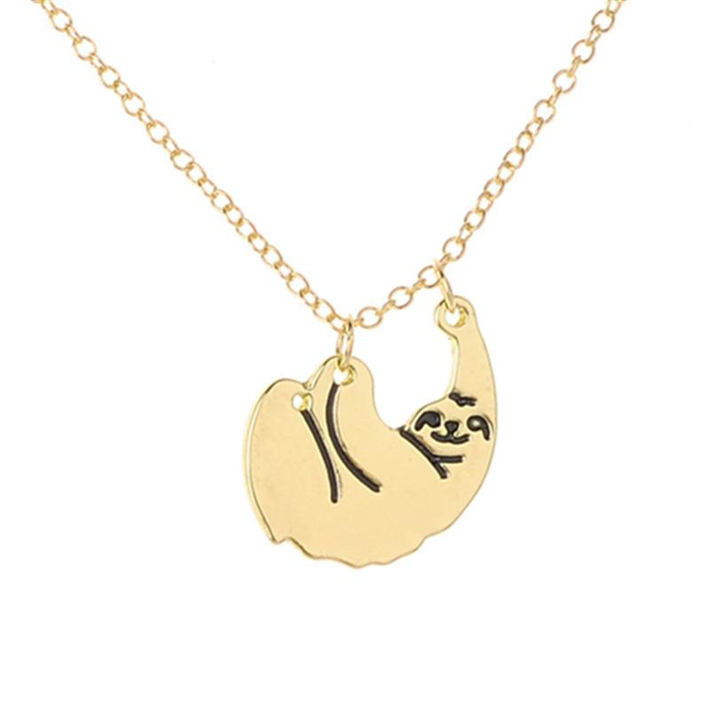 Wholesale cartoon sloth necklace animal pendant collares mujer wholesale cartoon sloth necklace animal pendant collares mujer plated gold silver animal chain jewellery accessories for gift mens pendant necklace photo mozeypictures Images
