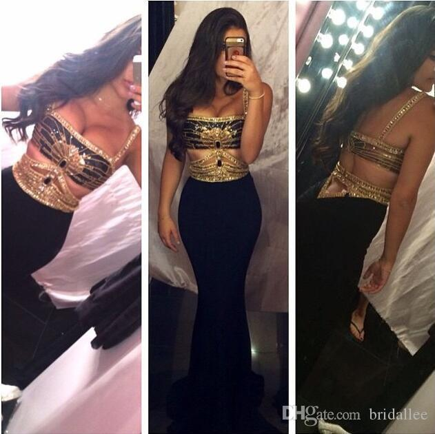 2017 New Design Sexy Mermaid Prom Dresses Straps Backless Gold Beaded Cut Out Gold Black Party Gowns Evening Gowns